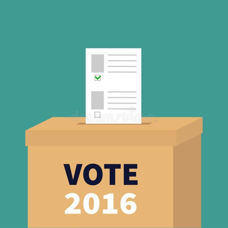与绿色标记概念的选票投票的箱子纸空白的公报 投票站 总统选举日表决2016白色黑文本 皇族释放例证