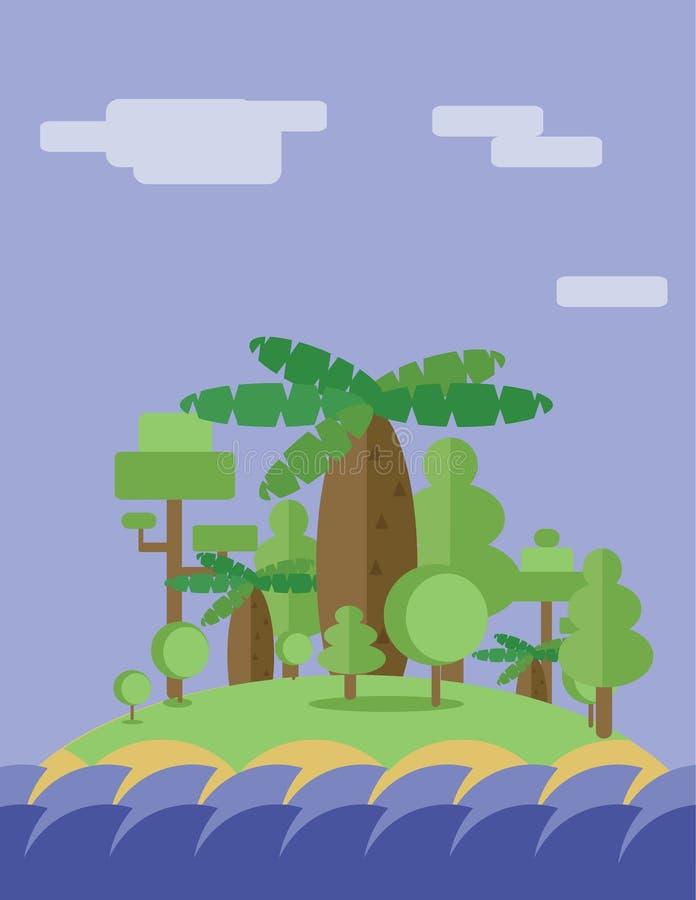 与绿色树、云彩和海浪离子的抽象风景设计海岛,平的样式 库存例证
