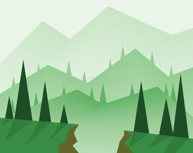 与绿色树、小山、雾和峡谷,平的样式的抽象风景设计 库存例证