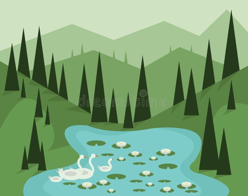 与绿色树、小山和雾,游泳在有waterlilies的一个湖,平的样式的鹅的抽象风景设计 向量例证