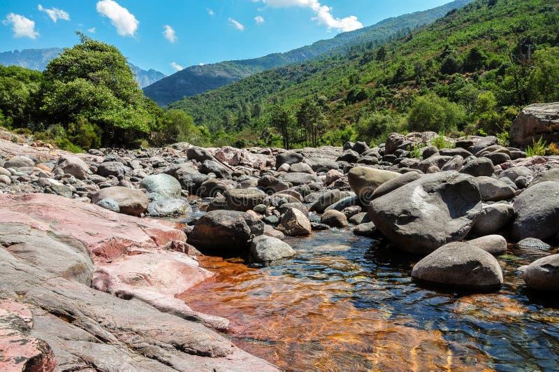 与绿色树和山的凉快的小河在可西嘉岛 图库摄影