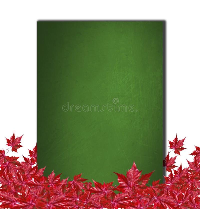 与绿色校务委员会和红色叶子的秋天背景 库存图片