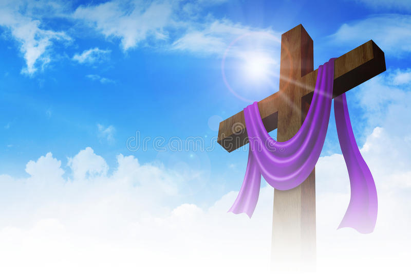 与紫色框格的一个十字架在云彩背景 免版税图库摄影