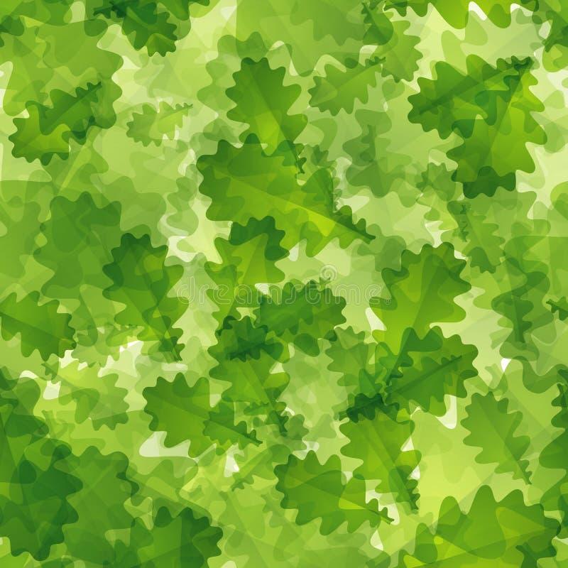 与绿色橡木叶子的背景 库存例证