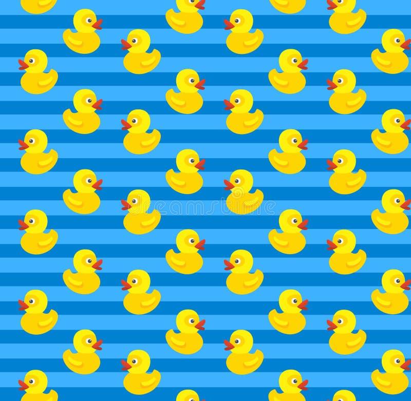 与黄色橡胶鸭子的逗人喜爱的无缝的样式在蓝色背景 皇族释放例证