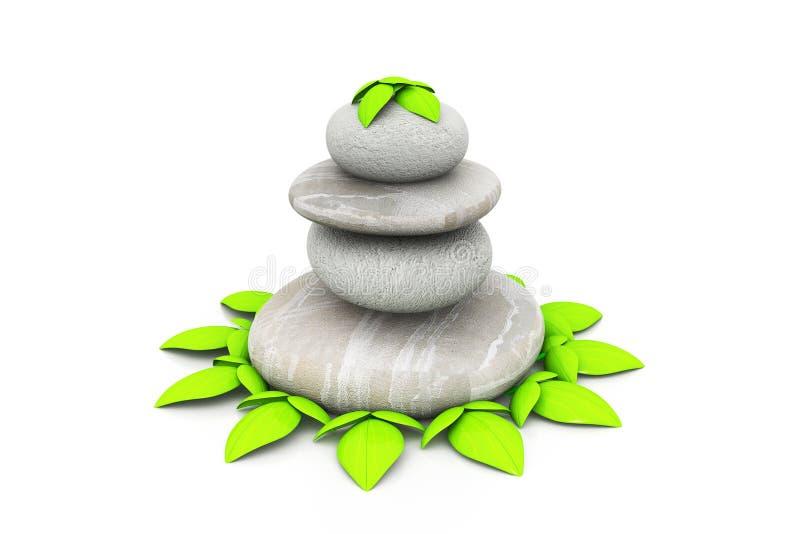 与绿色气喘的温泉石头 免版税库存照片