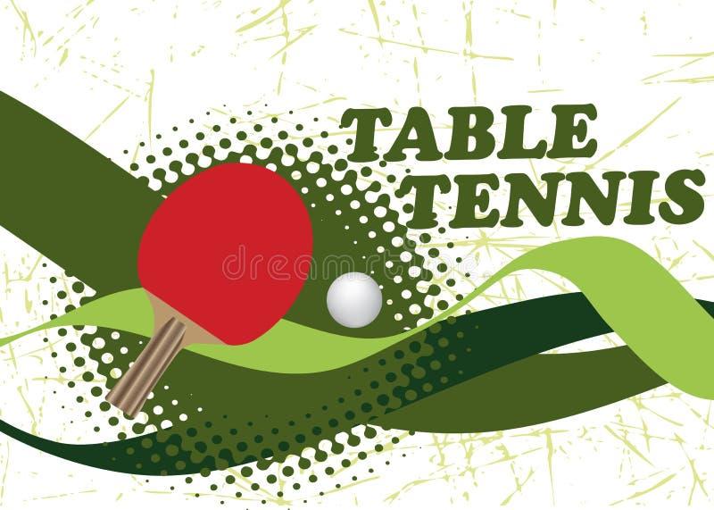 与绿色波浪的抽象乒乓球海报 库存例证