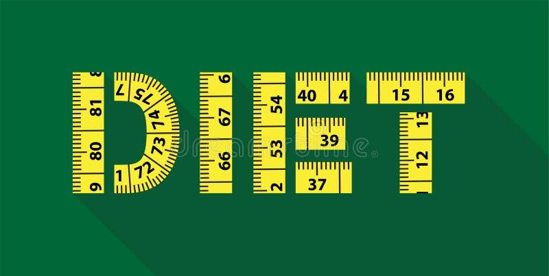 与黄色测量的磁带的饮食词 库存例证