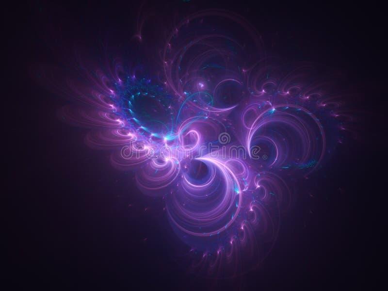 与紫色漩涡装饰品的抽象发光的分数维背景 库存图片