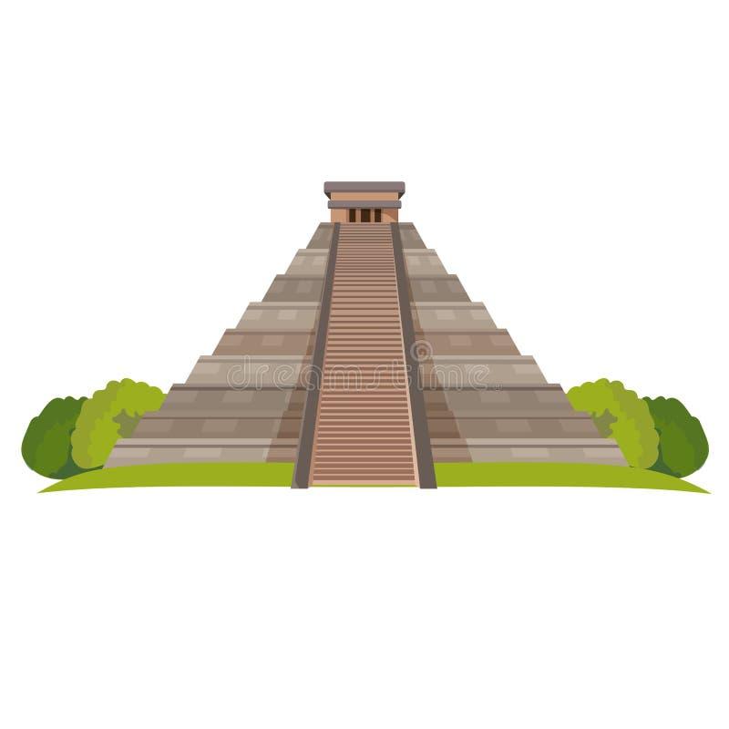 与绿色灌木的阿兹台克金字塔在白色的基地 现实传染媒介 皇族释放例证