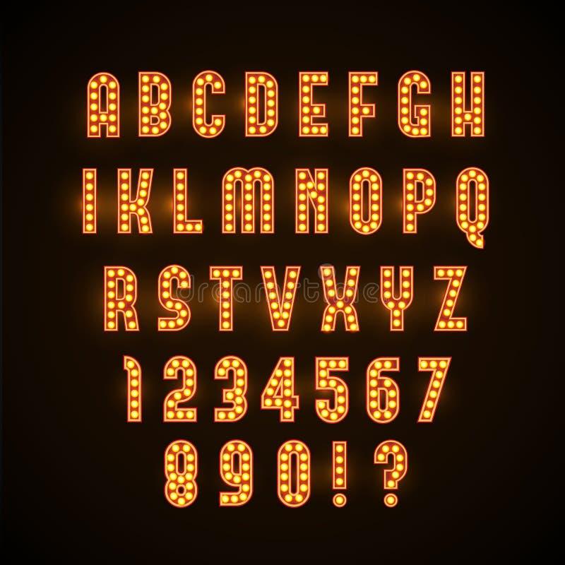 与黄色灯eps 10的减速火箭的发光的字体 图库摄影