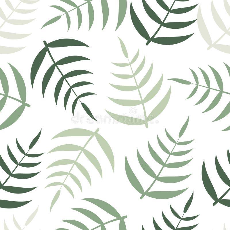 与绿色热带棕榈叶的春天样式 库存例证