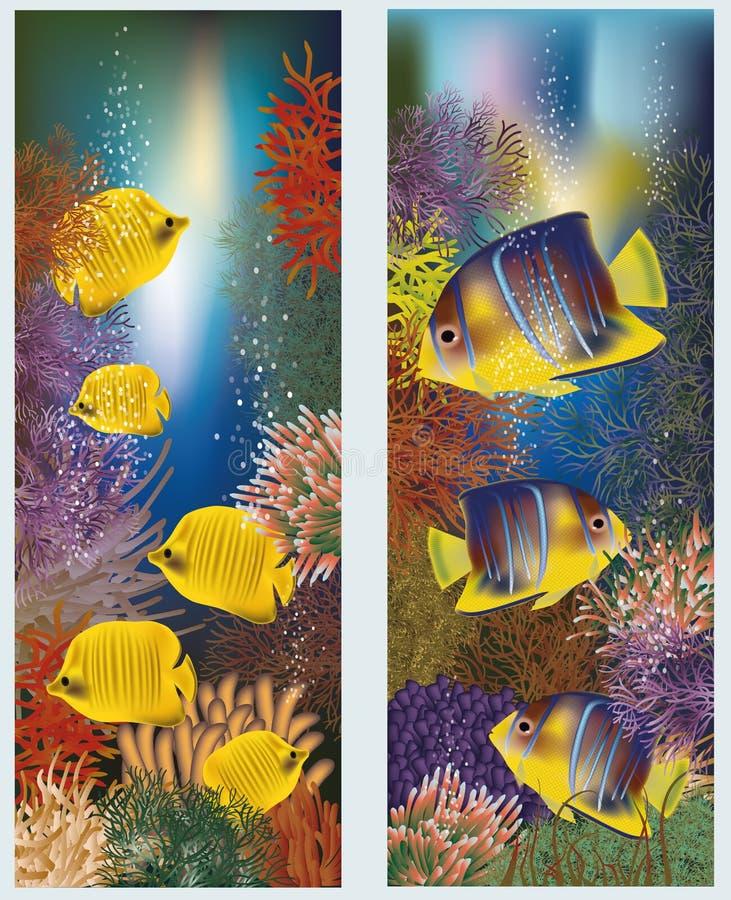 与黄色热带鱼的水下的横幅 皇族释放例证