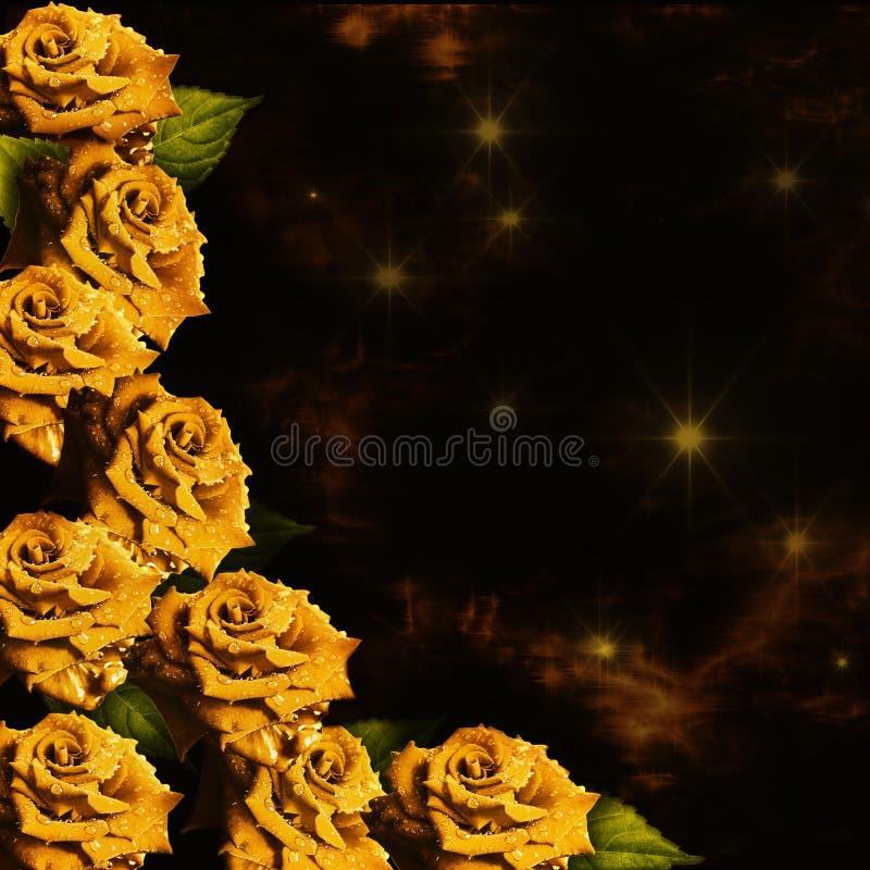 与黄色玫瑰的背景 免版税库存照片