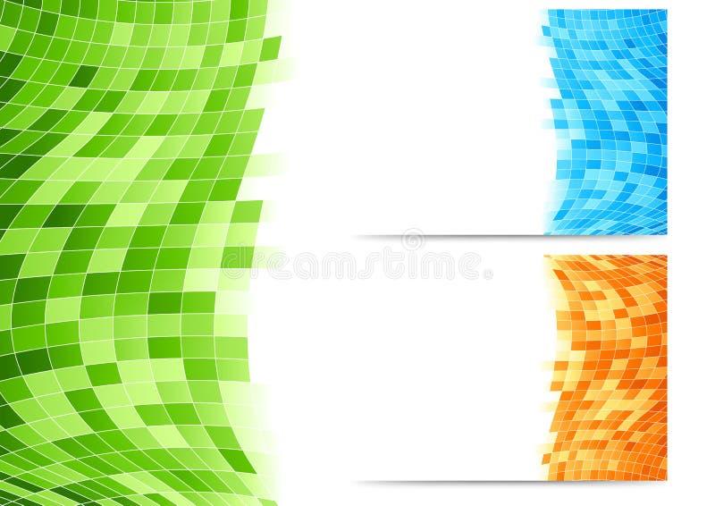 与绿色瓦片的抽象背景 库存例证