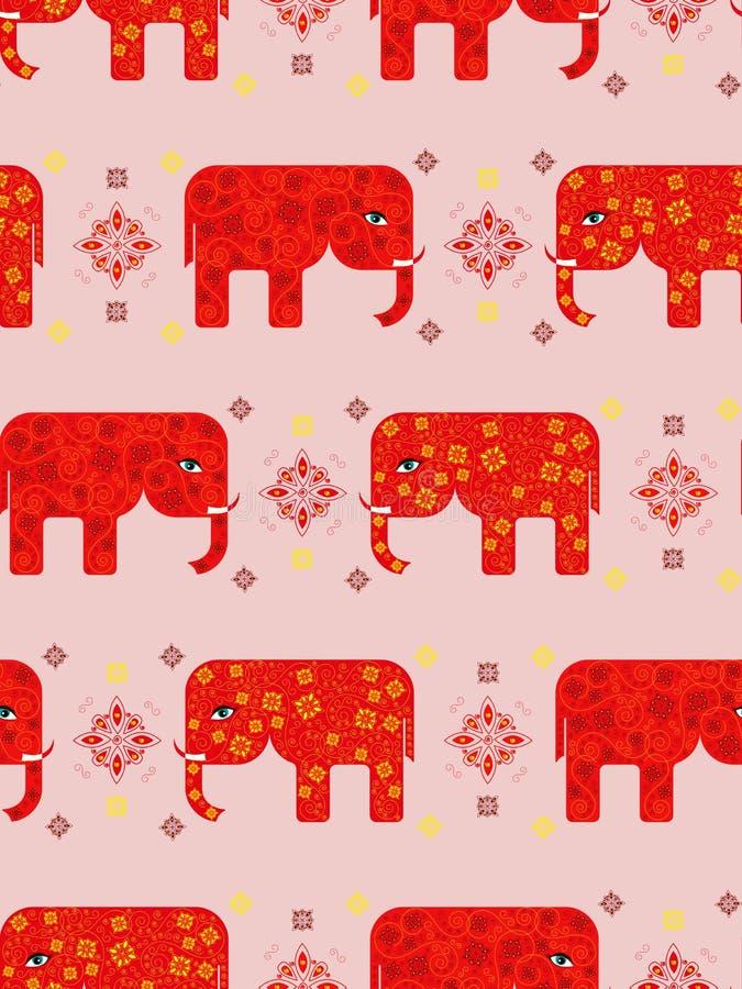 与绿色的无缝的样式绘了颜色印地安节日的大象  向量例证