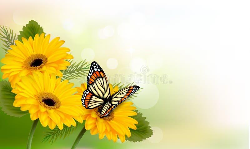 与黄色美丽的花和蝴蝶的夏天背景 向量例证