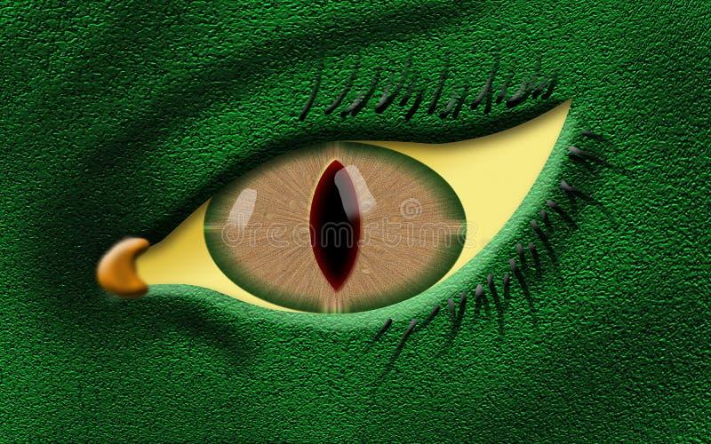 与绿色肤色的邪恶的龙眼睛 库存例证