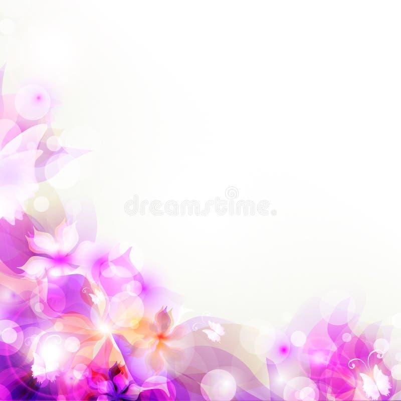 与紫色花卉抽象艺术性的背景 免版税图库摄影