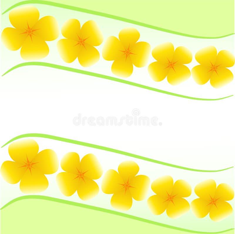 与黄色花的卡片 向量例证