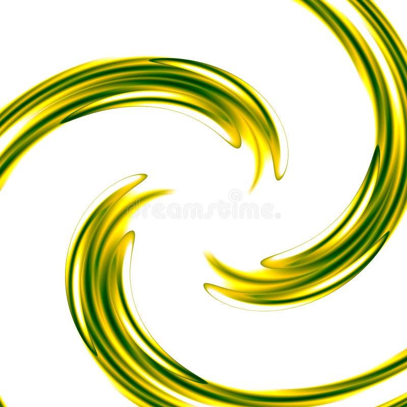与绿色螺旋-同心波纹的抽象派背景-图形设计元素-漩涡例证-湿油漆-颜色S 向量例证