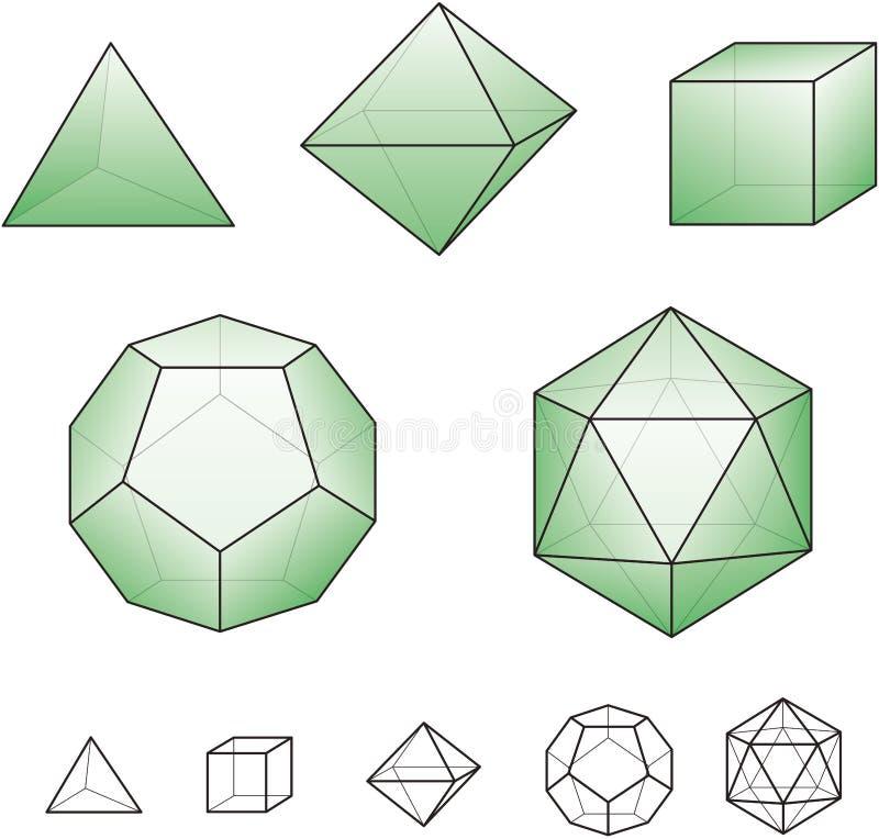 与绿色表面的帕拉图式的固体 图库摄影