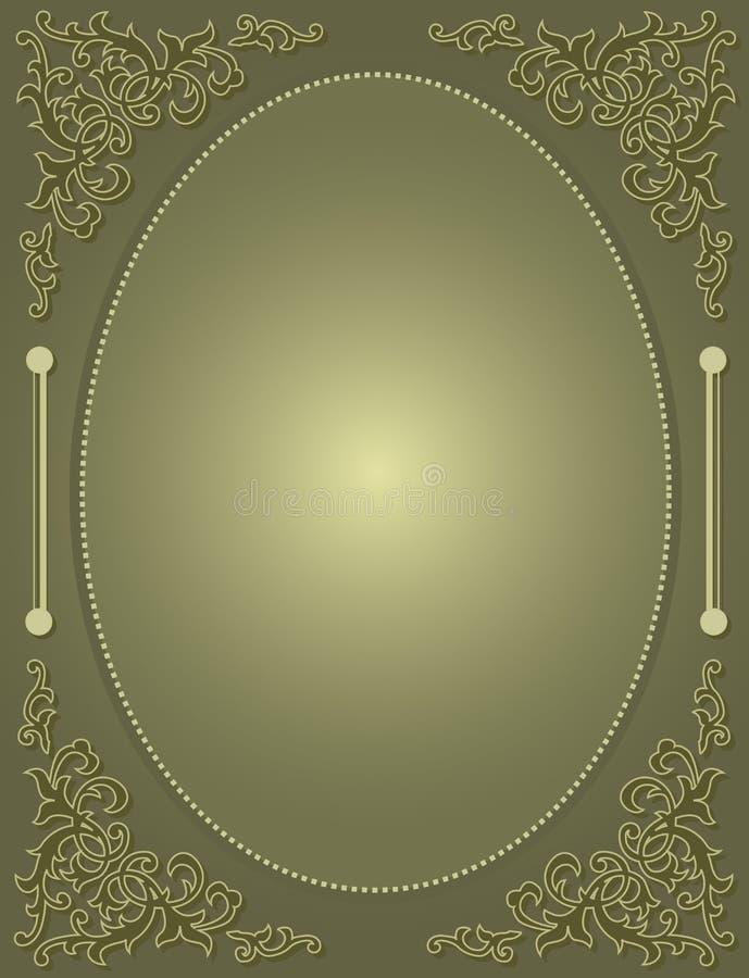 与绿色装饰框架/角落的婚礼邀请 向量例证