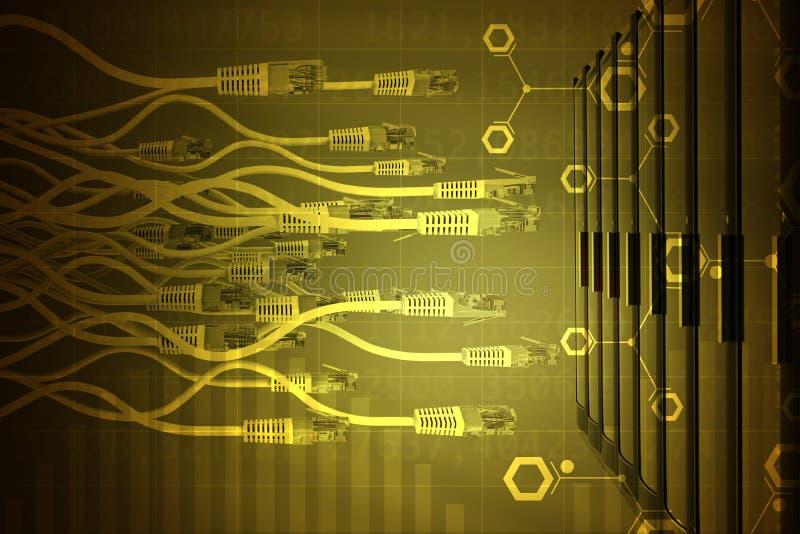 与黄色计算机缆绳的抽象背景 皇族释放例证