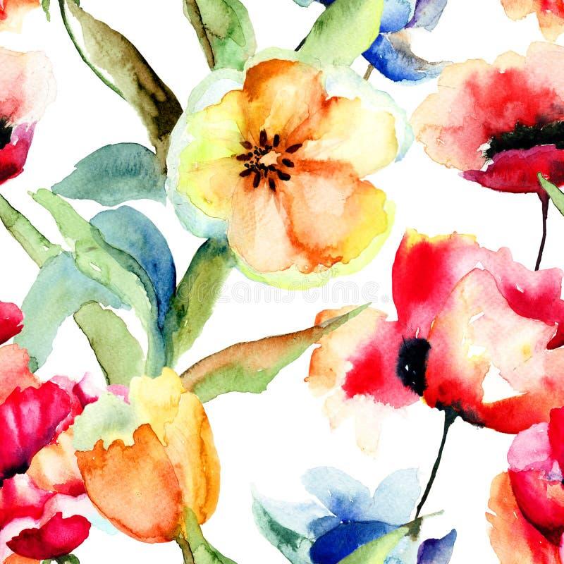 与黄色郁金香和鸦片的无缝的墙纸开花 库存例证