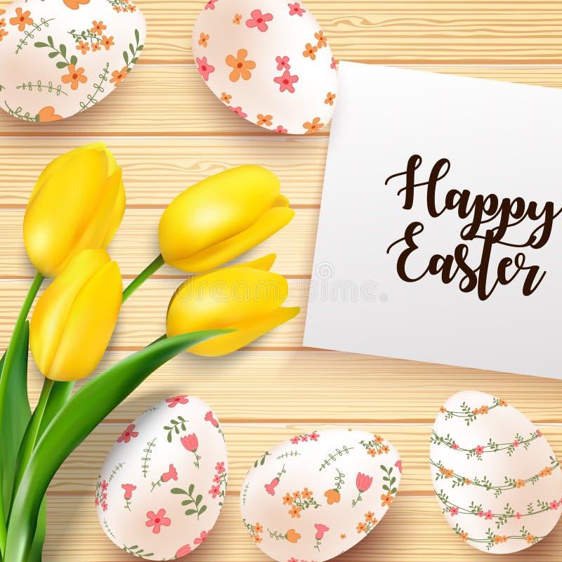 与黄色郁金香的复活节彩蛋在纹理木背景开花并且裱糊 库存例证