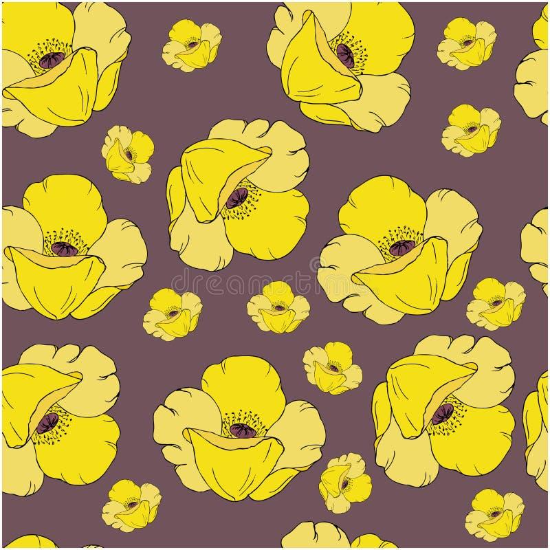 与黄色鸦片的无缝的样式在黑暗的背景开花 为墙纸,包装纸,样式积土,纺织品完善 向量例证