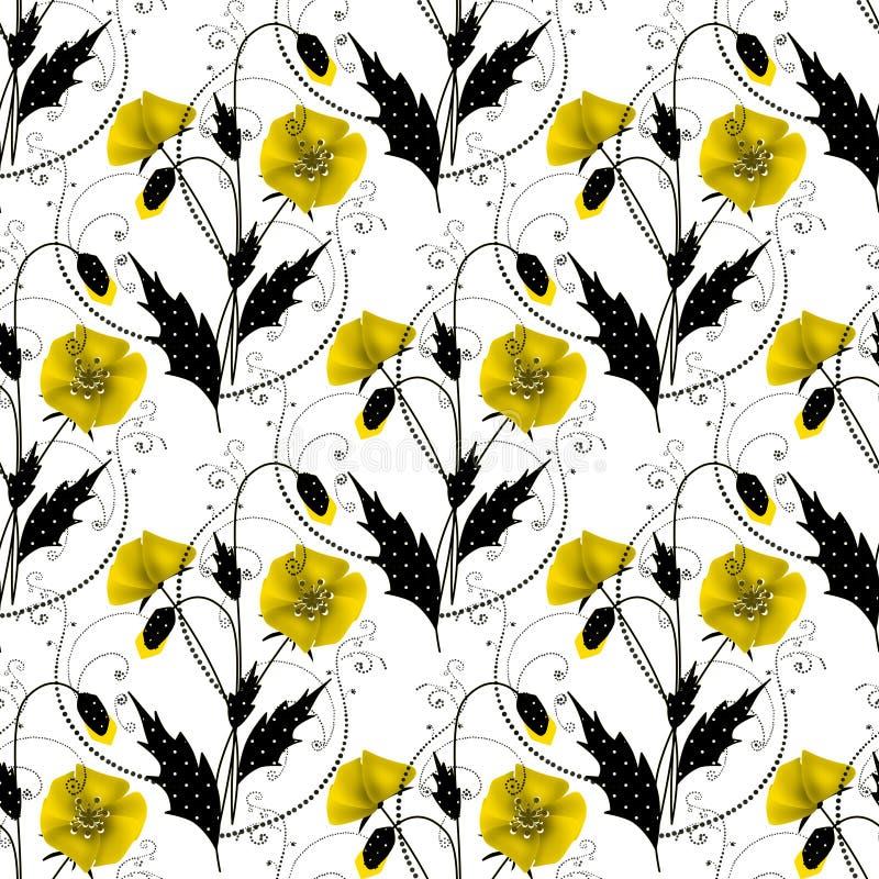 与黄色鸦片的无缝的花卉样式在白色背景 向量例证