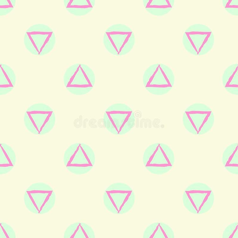 与绿色紫色和米黄柔和的淡色彩色环和三角形状的抽象几何无缝的样式传染媒介背景 皇族释放例证