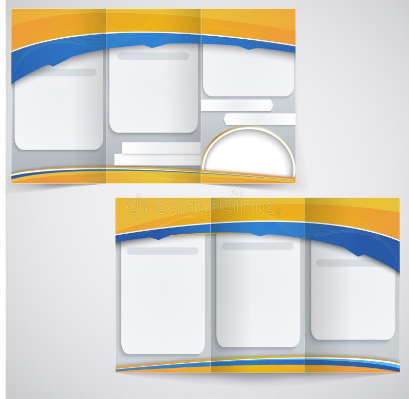 与黄色ele的传染媒介蓝色小册子布局设计 向量例证