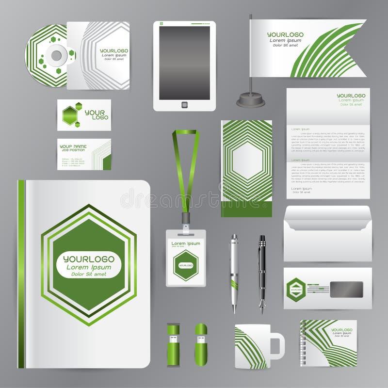 与绿色origami元素的白色公司本体模板 v 向量例证