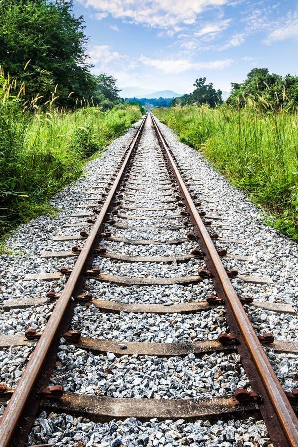 与绿草、山和蓝天,泰国的铁路轨道。 免版税库存照片