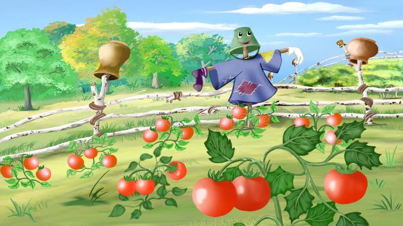与稻草人的农村风景在菜园里 向量例证