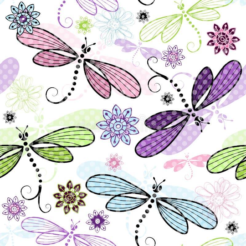 与蜻蜓的春天无缝的花卉样式 皇族释放例证