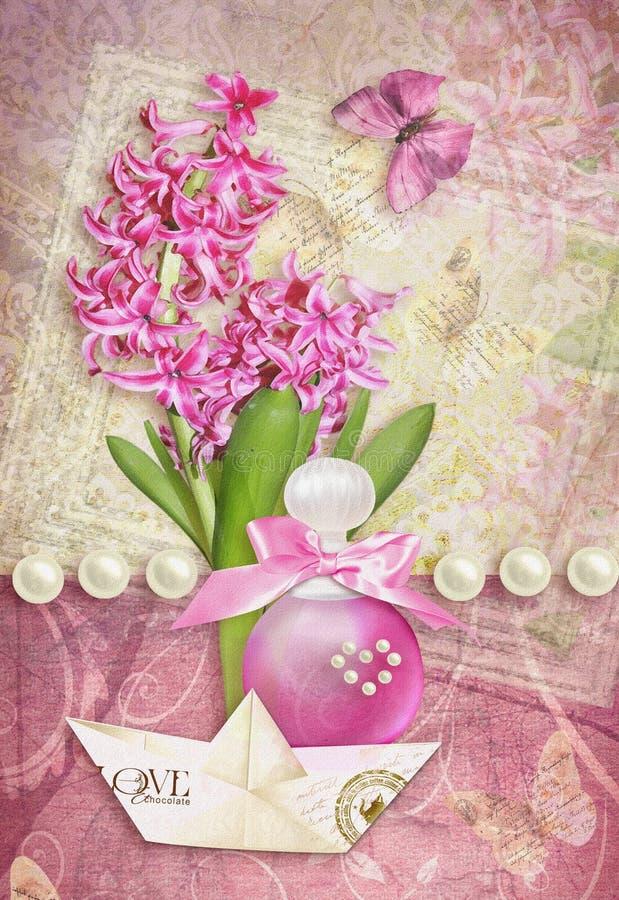 与蝴蝶、风信花、香水和纸小船的贺卡 向量例证