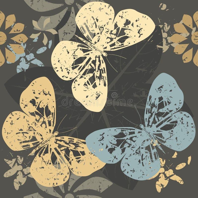 与蝴蝶剪影的秋天样式在开花开花 库存例证