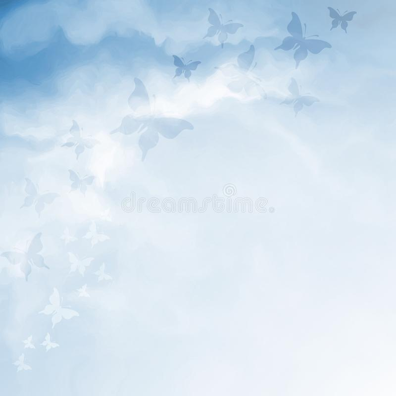 Download 与蝴蝶和拷贝空间的蓝天图画 库存例证. 插画 包括有 可爱, 风景, 设计, 空白的, 入口, 绘画, 放光 - 59109394