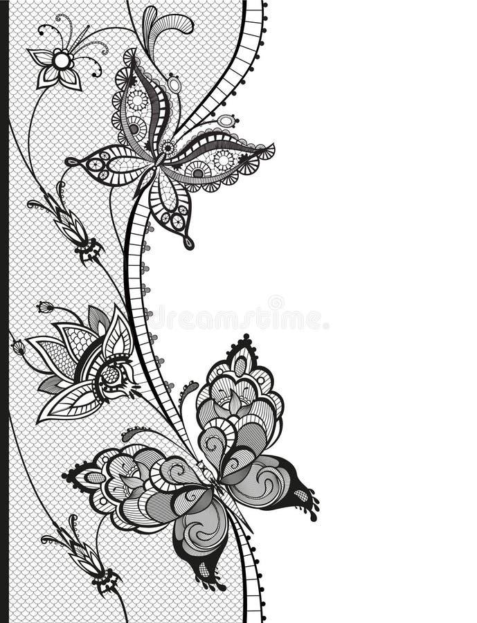 与蝴蝶和花的元素的抽象鞋带 免版税库存图片