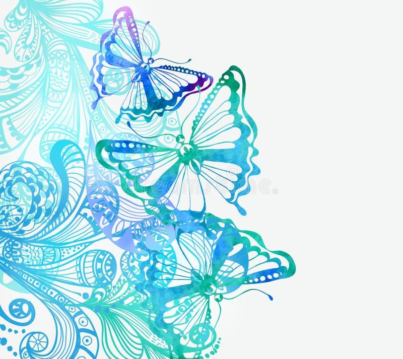 与蝴蝶和花饰的五颜六色的背景 向量例证