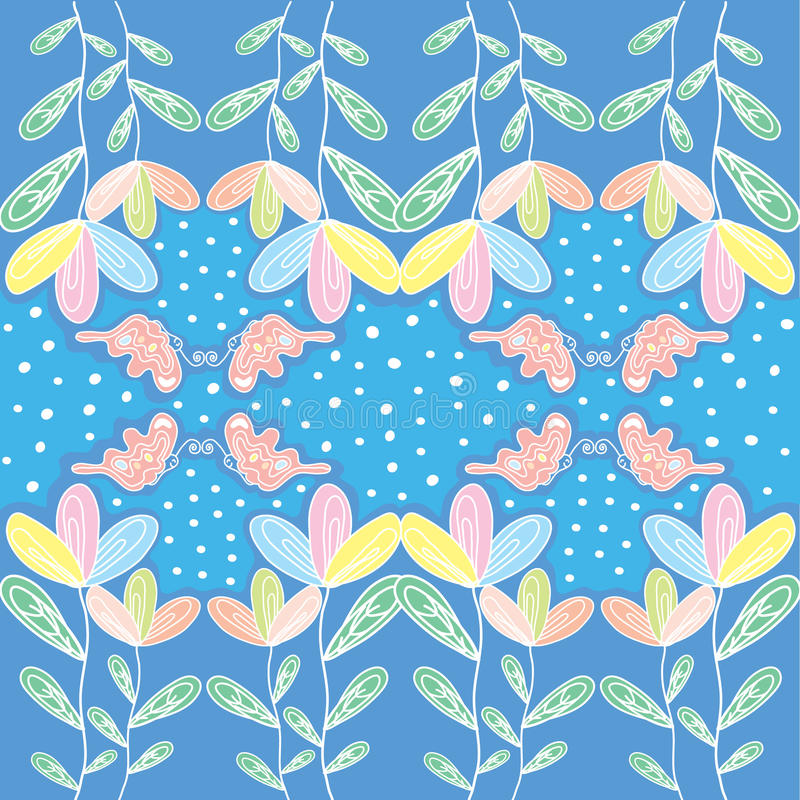 与蝴蝶和polkadot的Colorfull花 库存照片