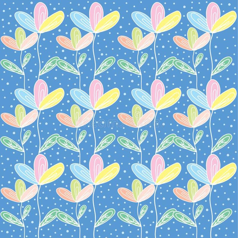 与蝴蝶和polkadot的Colorfull花 免版税图库摄影
