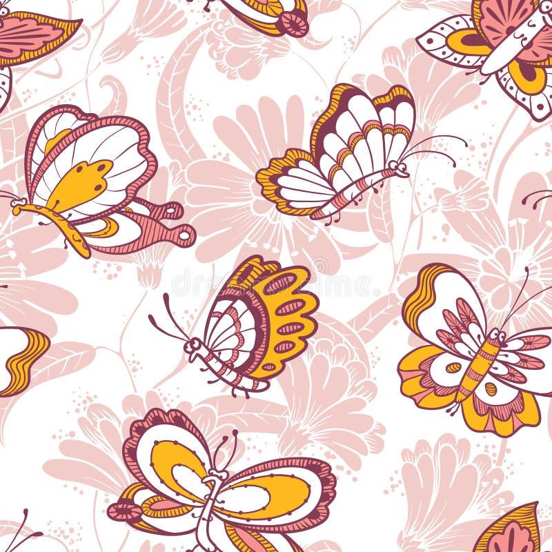 与蝴蝶字符的花卉无缝的样式 向量例证
