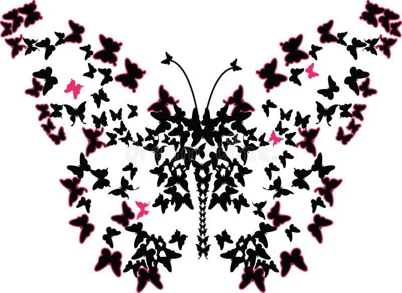 与蝴蝶效应艺术例证的许多蝴蝶 库存照片