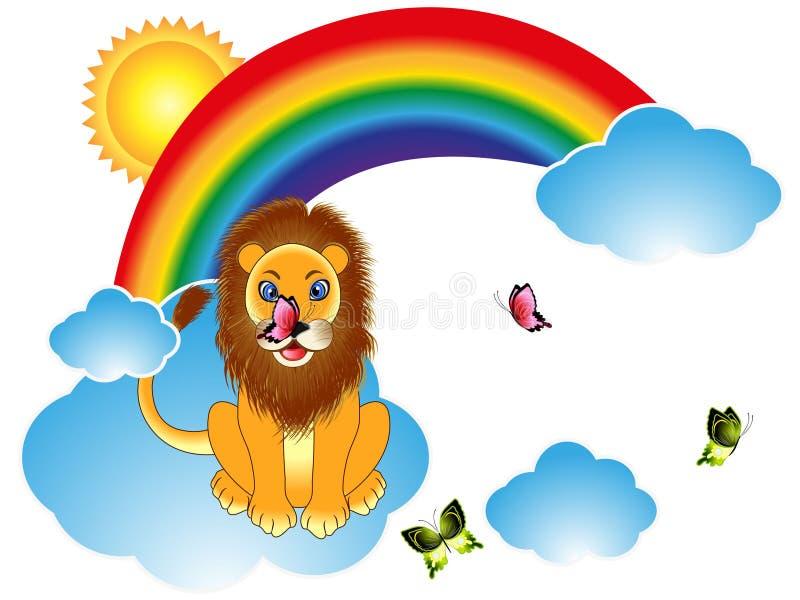 与蝴蝶的动画片狮子在彩虹云彩 皇族释放例证