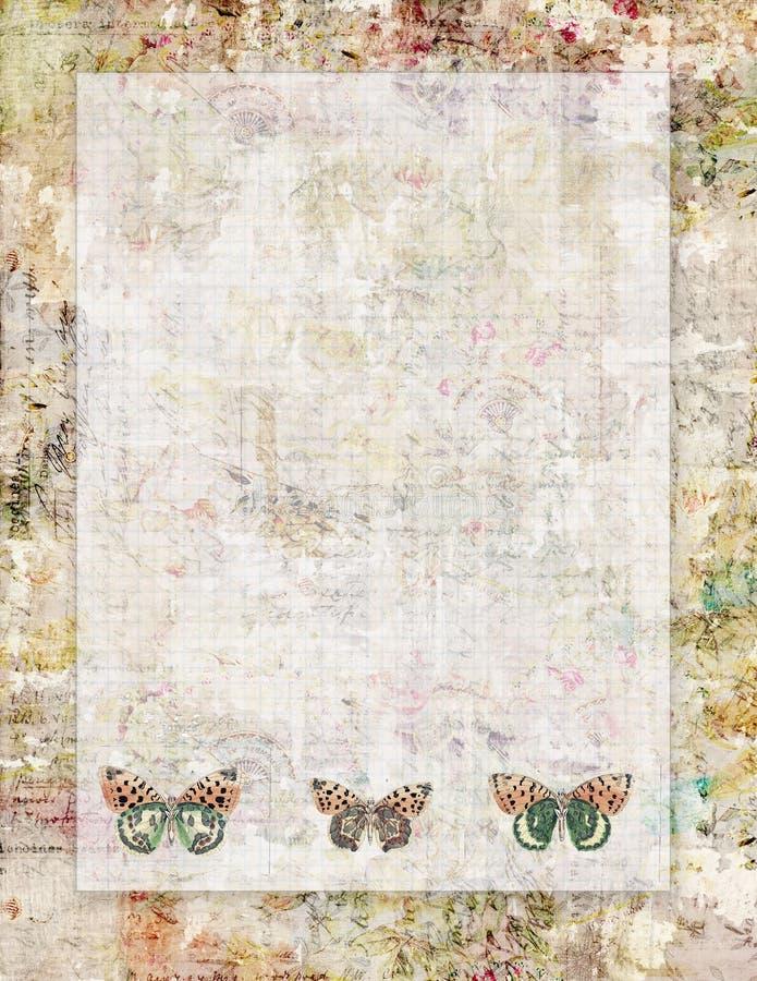 与蝴蝶的可印的葡萄酒破旧的别致的样式摘要花卉固定式或背景 皇族释放例证