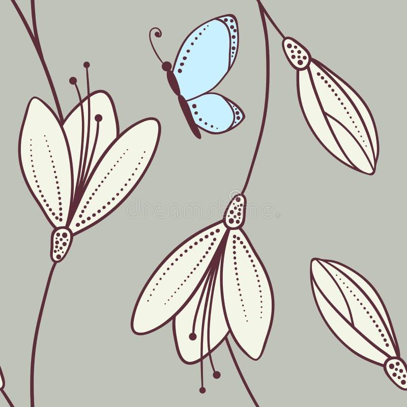与蝴蝶的手拉的抽象花卉无缝的样式 皇族释放例证